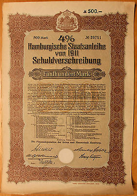 Original 1911 German Government Bond w/Coupons No.39751
