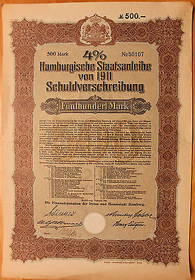 Original 1911 German Government Bond w/Coupons No.50107