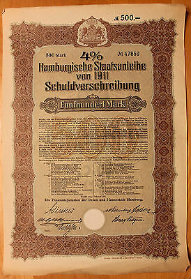 Original 1911 German Government Bond w/Coupons No.47859