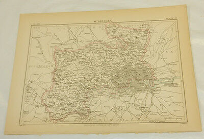 1883 Antique COLOR Map/MIDDLESEX, ENGLAND