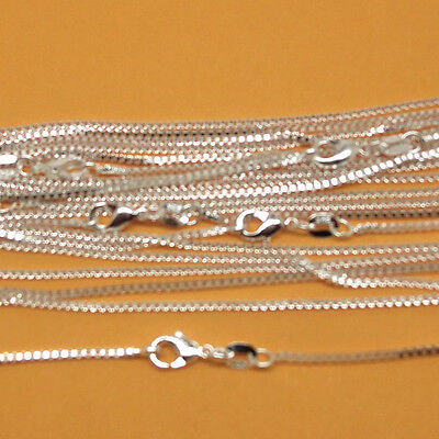 s925 Sterling Solid Silver 1mm box   Chain Necklace 18-30 inch 1pc,2pc,5pc,10pc