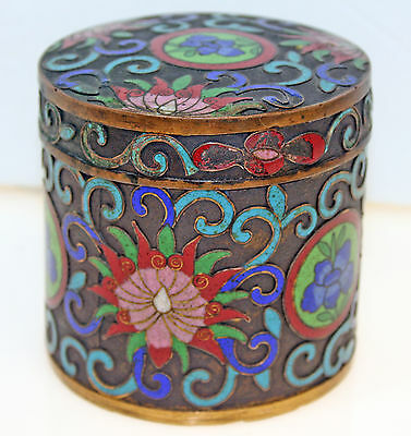 Small Chinese Export Cloisonne Tea Caddy Jar
