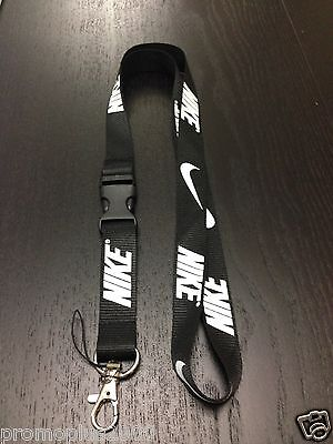 Nike Lanyard Detachable Keychain iPod Camera Strap Badge ID Running Cell Black