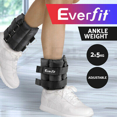 Everfit 2X5kg Wrist Ankle Weight Gym Fitness Training Adjustable Pair Strap