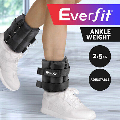 Everfit 2X5kg Wrist Ankle Weight Gym Home Fitness Training Adjustable Pair Strap
