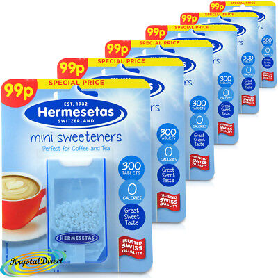 6x Hermesetas Mini Sweeteners Original 300 Tablets 0 Calories