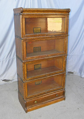 Antique Four High Sectional Oak Barrister Bookcase 3/4 Size Width