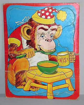 Built Rite Sta-N-Place Inlaid Child's Old Tray Puzzle Monkey Chair 12pc