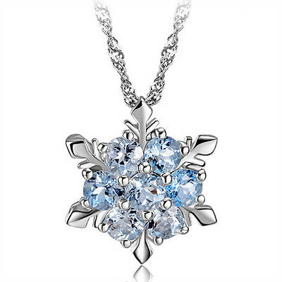 Blue Crystal Snowflake Frozen Flower Silver Necklace Pendant 45 cm 18 inches