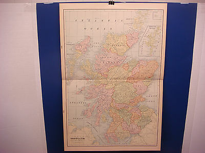 """1903 Cram's Atlas Map 2 Page, Scotland, Nice Color,Suitable To Frame 14""""X21"""""""