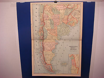 1903 Cram's Atlas Map 2 Pg,Argentina,Chile,Urguay Color,Suitable To Frame 14X21""