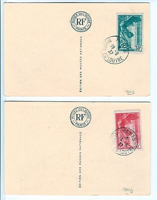 FRANCE 1937-9-19  MUSEE DU LOUVRE  SET ON 2 PPC  VF