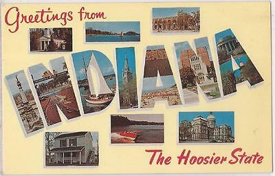"INDIANA Large Letter Postcard ""The Hoosier State"" Dexter Chrome c1950s Unused"