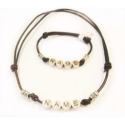 Men/Boys Named Surfer Leather Wristband and Necklace Set
