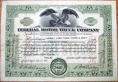 1942 Car/Automobile Stock Certificate: 'Federal Motor Truck Company' - Green