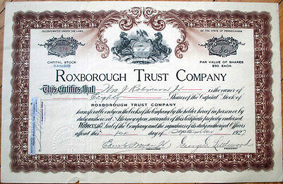 1927 Bank Stock Certificate: Roxborough Trust Company - Pennsylvania PA