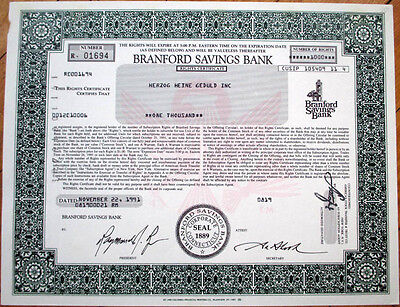 1991 Stock (Rights) Certificate - Branford Savings Bank - Connecticut CT