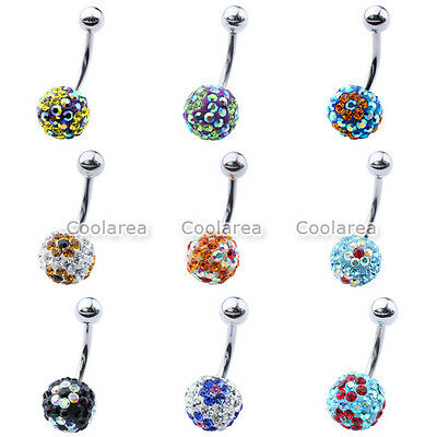 1pc Colorful Czech Crystal Ball Flower Belly Navel Ring Curved Barbell Piercing