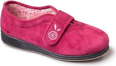 ae1fa198e95b Padders CAMILLA Ladies Womens Extra Wide EE Fit Touch Close Slippers Cerise  Pink