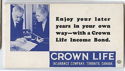 Old 1940's Crown Life Insurance Advertising Blotter Later Years