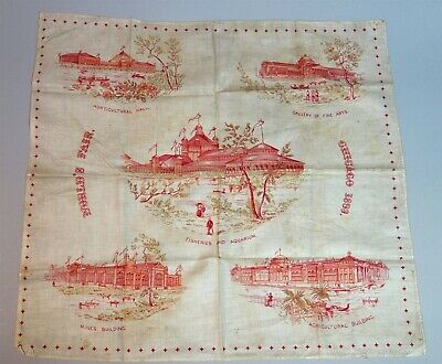 "18"" Red Printed Cotton Handkercheif World's Fair Buildings Chicago 1893"