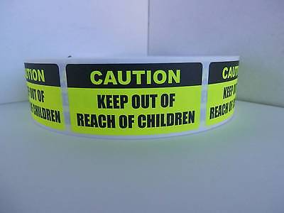 CAUTION KEEP OUT OF REACH OF CHILDREN Sticker Label fluor chartreuse 500/rl