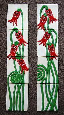 Hand Made 3D Abstract Flower Ceramic with Inlaid Glass Fireplace Tiles Set