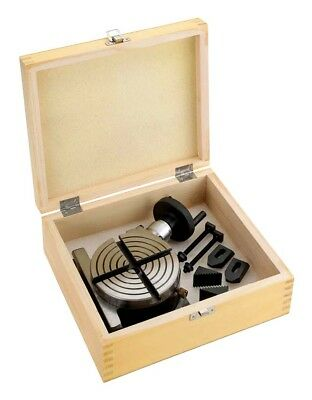 "Shop Fox 4"" Rotary Table + Clamp Set in Wooden Box Circular Machining M1076 New"