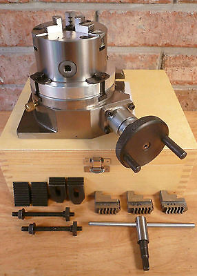 """4"""" Rotary Table + 3-Jaw x 3-1/4"""" Chuck On Back Plate + Wooden Case Machining New"""