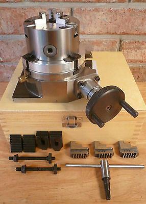 """4"""" Rotary Table + 3-Jaw x 3-1/4"""" Chuck On Back Plate + Molded Case Machining New"""