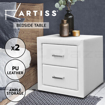 2x Bedside Table Deluxe PU Leather Cabinet 2 Drawers Nightstand Chest WHITE