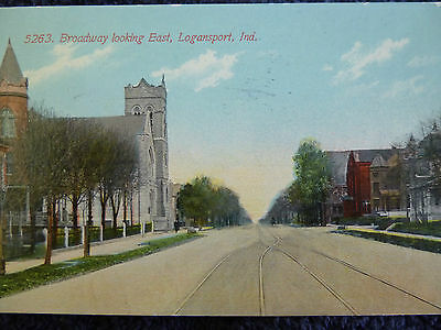 1911 Broadway Looking East in Logansport, In Indiana PC