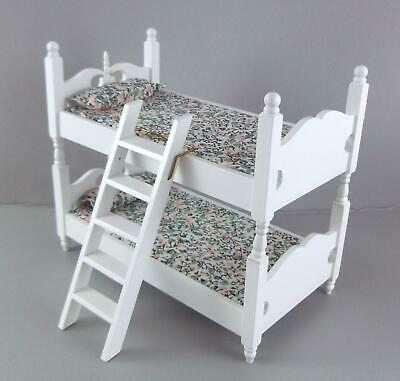Melody Jane Dolls House Miniature 1:12 Bedroom Furniture White Wooden Bunk Beds