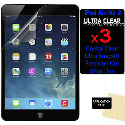 3 x CLEAR LCD Screen Protector Guards for Apple iPad Air 2 / iPad 6 6th Gen
