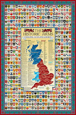England, Scotland & Wales Coat of Arms Poster Map