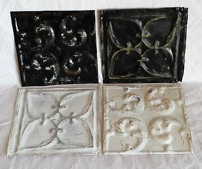 "4 6"" x 6""  Antique Tin Ceiling Tiles  Tx21 Black & White"