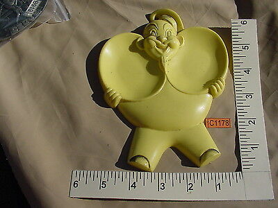 YELLOW PLASTIC CHEF BOY AR DEE? CHEF DOUBLE SPOON REST HOLDER VINTAGE C1178