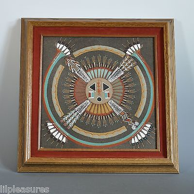 1985 Navajo Sandpainting SUN and Eagle by Hosteen Etsitty Bi Nullea