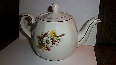 Vintage Ellgreave Woods And Sons White Daisy Flower Design Teapot England