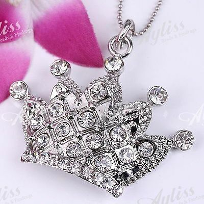 Silver Plate Clear Crystal Crown Bead Focal Pendant 1P