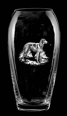 BORZOI RUSSIAN WOLFHOUND *DOG GIFT* Boxed 23cm CRYSTAL GLASS TULIP VASE