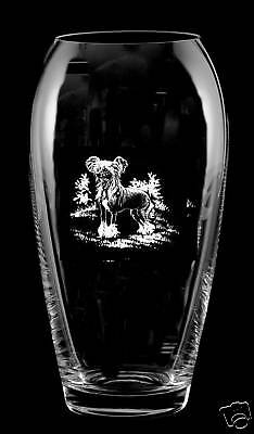 Hairless CHINESE CRESTED *DOG GIFT* Boxed  23cm CRYSTAL GLASS TULIP VASE