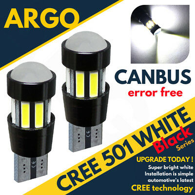 2x 501 PROJECTOR CREE LED SMD CANBUS SUPER BRIGHT WHITE REFLECTION T10 W5W BULBS