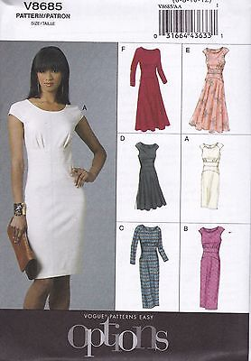 Vogue Easy Sewing Pattern EASY OPTIONS FITTED Dress 6 - 20 V8685