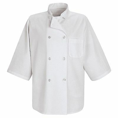 New Red Kap 0404 1/2 Short -Sleeve Chef Coat - White size L