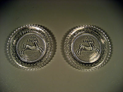 Pair Early American Pattern Glass Plates Deer in Winterthur Decoration 19th c.