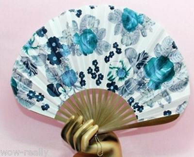 Chinese Bamboo Folding Silk Hand Blue Flowers Fan Wedding Party Gift Decor