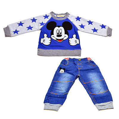 2 in 1 baby clothes Cartoon outfits boy's sets Top T-shirt+jeans for 0-4Y R56