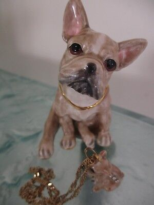 "French Bulldog Fawn  "" Beau ' Enameled Jewel Box & Necklace #62727"