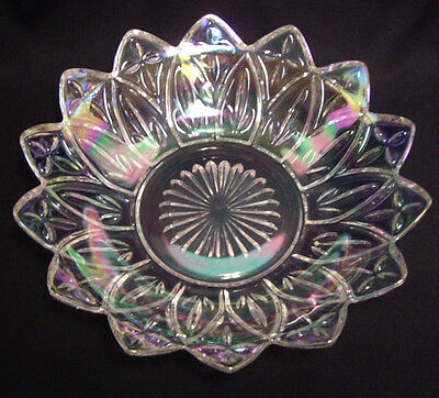 "Vintage Indiana Federal Iridescent Clear Carnival Glass Bowl Petal 8 1/2"" Across"